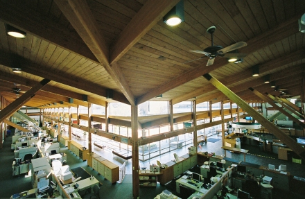 A view of the Village Hall offices from the mezzanine. Photo by author.